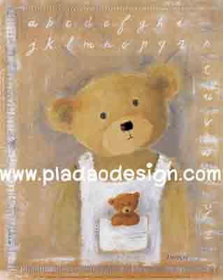 กระดาษสาพิมพ์ลาย rice paper เป็นการะดาษสา สำหรับทำงานฝีมือ เดคูพาจ Decoupage แนวภาพ น้องหมี เท็ดดี้ แบร์ Teddy Bear เด็กนักเรียนชายมาเรียนวิชาภาษาอังกฤษในชุดเอี๊ยม (pladao design)