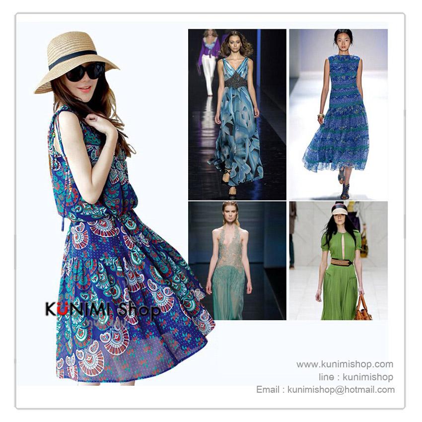 ชุดเดรสสีน้ำเงิน ผ้าชีฟอง ลายหางนกยูง   ช่วงเอวจั้ม สวยใส่สบาย รับกับหน้าร้อน     ขนาด :Size M   ผ้า  :ผ้าชีฟอง         * สีในรูป กับสีสินค้าจริง จะแตกต่างเล็กน้อยคะ *