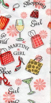 แนวภาพแฟชั่น ของช๊อปปิ้งของสาวๆ กระเป๋า รองเท้า กระดาษแนพกิ้นสำหรับทำงาน เดคูพาจ Decoupage Paper Napkins ภาพกระจายเต็มแผ่น ขนาด 21X22cm