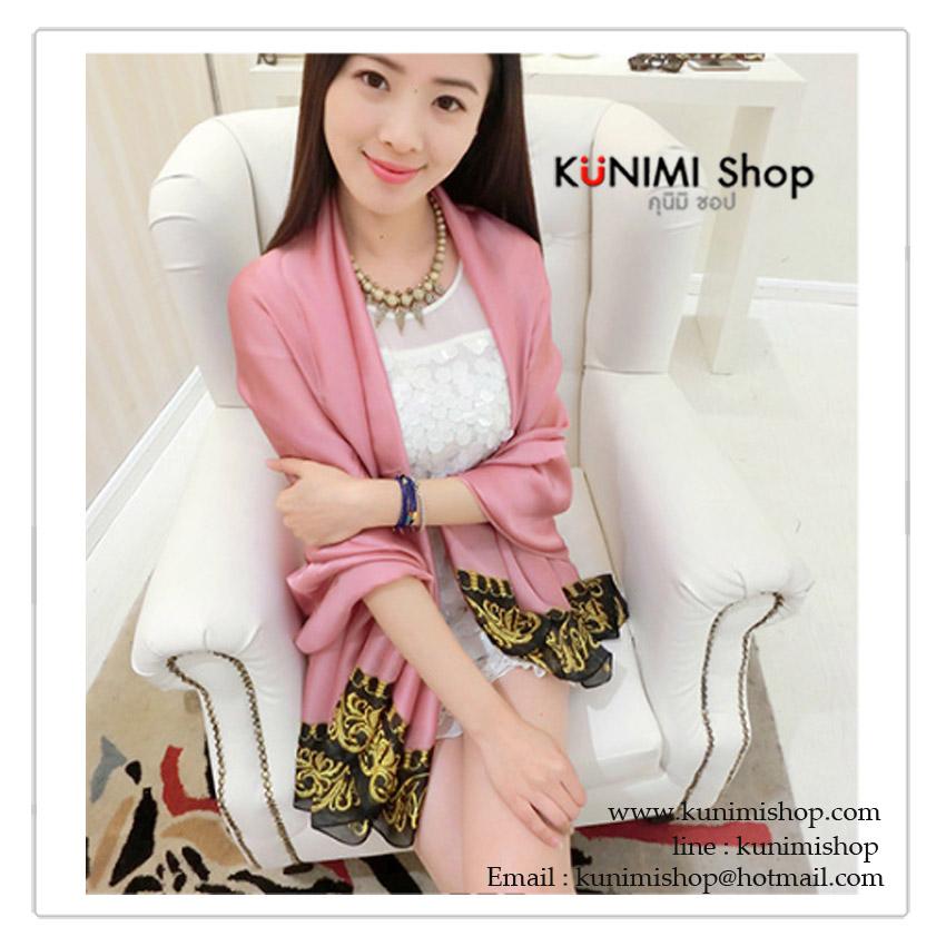 PR046-B ผ้าพันคอแฟชั่น ผ้าซาติน สีชมพู พิมพ์ลายสวย ขนาด ยาว 180 กว้าง 90 cm.