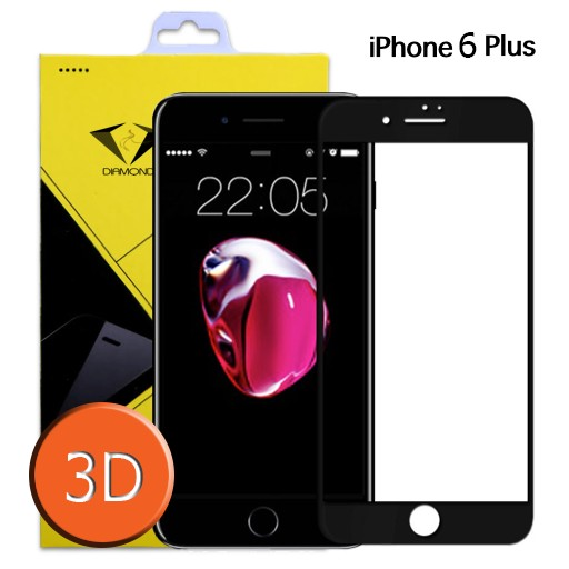 Diamond ขายดี ! ฟิล์มกระจกเต็มจอ ฟิล์มกันรอยมือถือ iphone 6 plus ไอโฟน 6 พลัส 3D ขอบ Carbon fiber สีดำ