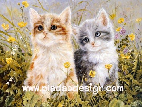 กระดาษสาพิมพ์ลาย สำหรับทำงาน เดคูพาจ Decoupage แนวภาพ แมวเพื่อนซี้ขนยาว 2 ตัว 2 สี ทำหน้าฉงนอยู่ในทุ่งหญ้า