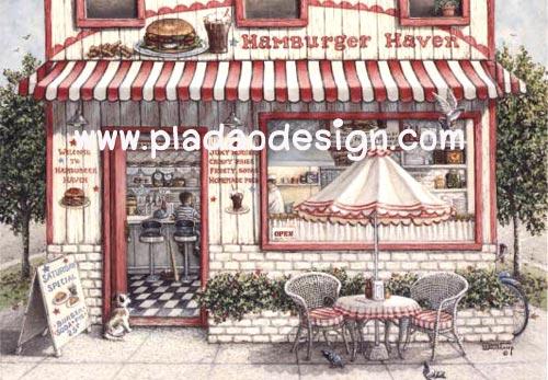 กระดาษสาพิมพ์ลาย rice paper สำหรับทำงาน เดคูพาจ Decoupage handmade แนวภาพ ร้านขายแฮมเบอร์เกอร์ บนไซด์วอลค์ มีโต๊ะนั่งกินชมวิวหน้าร้าน สไตล์ต่างประเทศ (ปลาดาวดีไซน์)