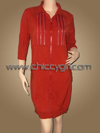 เสื้อคลุมตัวยาวซิบหน้าสีส้ม แต่งซิบที่อก มีกระเป๋าข้าง ผ้าเนื้อดีเกรดเอ (L)
