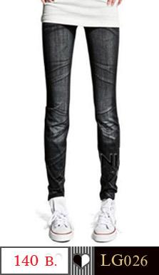 กางเกงเลคกิ้ง ขายาวเข้ารูป ลายยีนส์ สวยเก๋ ใส่ได้ทุกโอกาส ผ้า : ผ้าฝ้ายผสม ( ผ้ายืด )