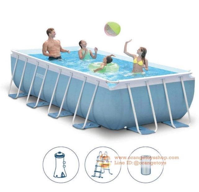 ( ขนาด 14 ฟุต ) สระว่ายน้ำ ขนาดใหญ่ Intex 26776 Former 28316 Prism Frame Above Ground Pool Rectangular 4x2x1m