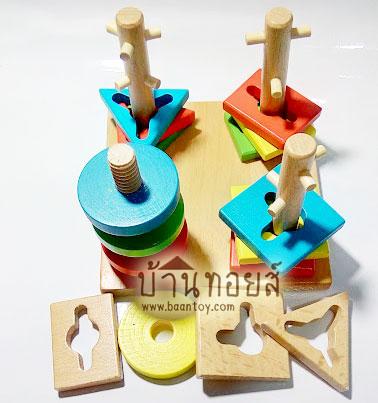 บล็อคไม้สวมหลัก ของเล่นไม่เสริมพัฒนาการ