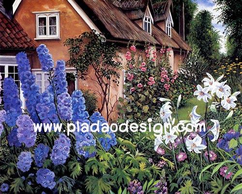 กระดาษสาพิมพ์ลาย rice paper สำหรับทำงาน handmade เดคูพาจ Decoupage แนวภาพ บ้านและสวน บ้านพักฤดูหนาว ในดงดอกไม้สีสันสวยสดสบายตา อยู่แล้วสบายใจ pladao design