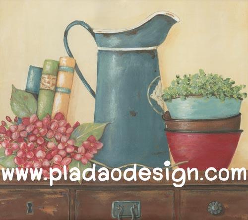 กระดาษสาพิมพ์ลาย สำหรับทำงาน เดคูพาจ Decoupage แนวภาำพ ภาพวาด ดอกไม้สีแดงดอกใหญ่วางอยู่ข้างเหยือกสังกะสีสีเขียว กับหนังสือบนตู้ (ปลาดาวดีไซน์)