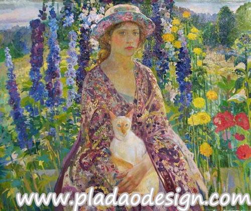 กระดาษสาพิมพ์ลาย สำหรับทำงาน เดคูพาจ Decoupage แนวภาำพ ภาพวาด สาวหน้าสวยใส่ชุดกับหมวกเข้าเซ็ตกัน อุ้มแมวนั่งเล่นในสวนดอกไม้