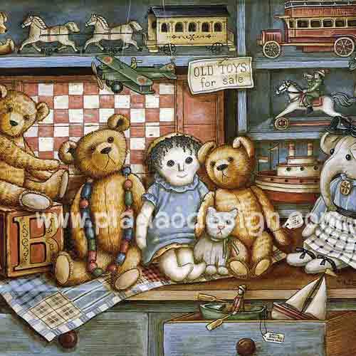 กระดาษสาพิมพ์ลาย rice paper สำหรับทำงานฝีมือ handmade เดคูพาจ Decoupage แนวภาพ หมี เท็ดดี้แบร์ Teddy bear กับเพื่อนตุ๊กตา (pladao design)