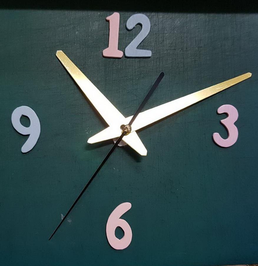 ชุดตัวเครื่องนาฬิกาญื่ปุนเดินเรียบ เข็มลายโมเดิน ขนาดยาว เข็มสั้น-เข็มยาวสีทอง เข็มวินาทีสีดำ อุปกรณ์ DIY