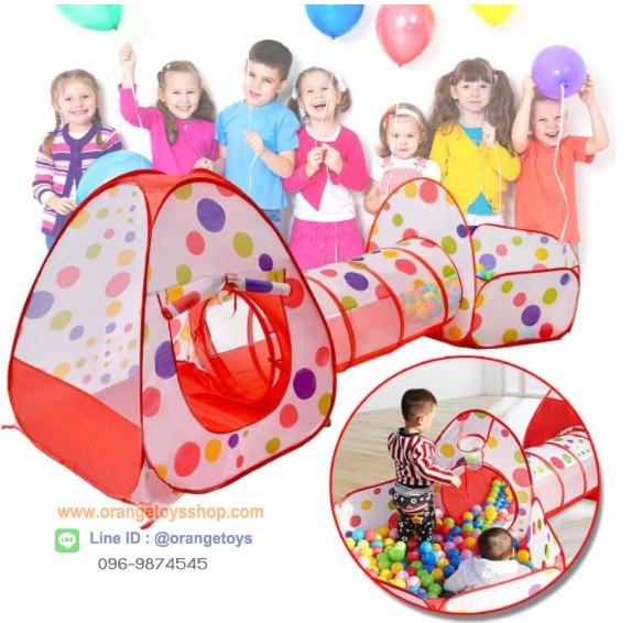 (บ้านบอลเด็ก) เต็นท์อะเวนเจอร์ สีสันสดใส มาพร้อมกับบ่อบอล บ้านทรงสามเหลี่ยม และอุโมงค์