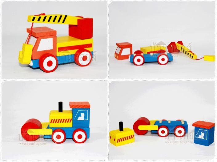 โมเดลไม้ของเล่น ชุดรถก่อสร้าง 4 คัน ของเล่นเสริมพัฒนาการ รถถอดประกอบได้ทุกคัน สีสันสดใส