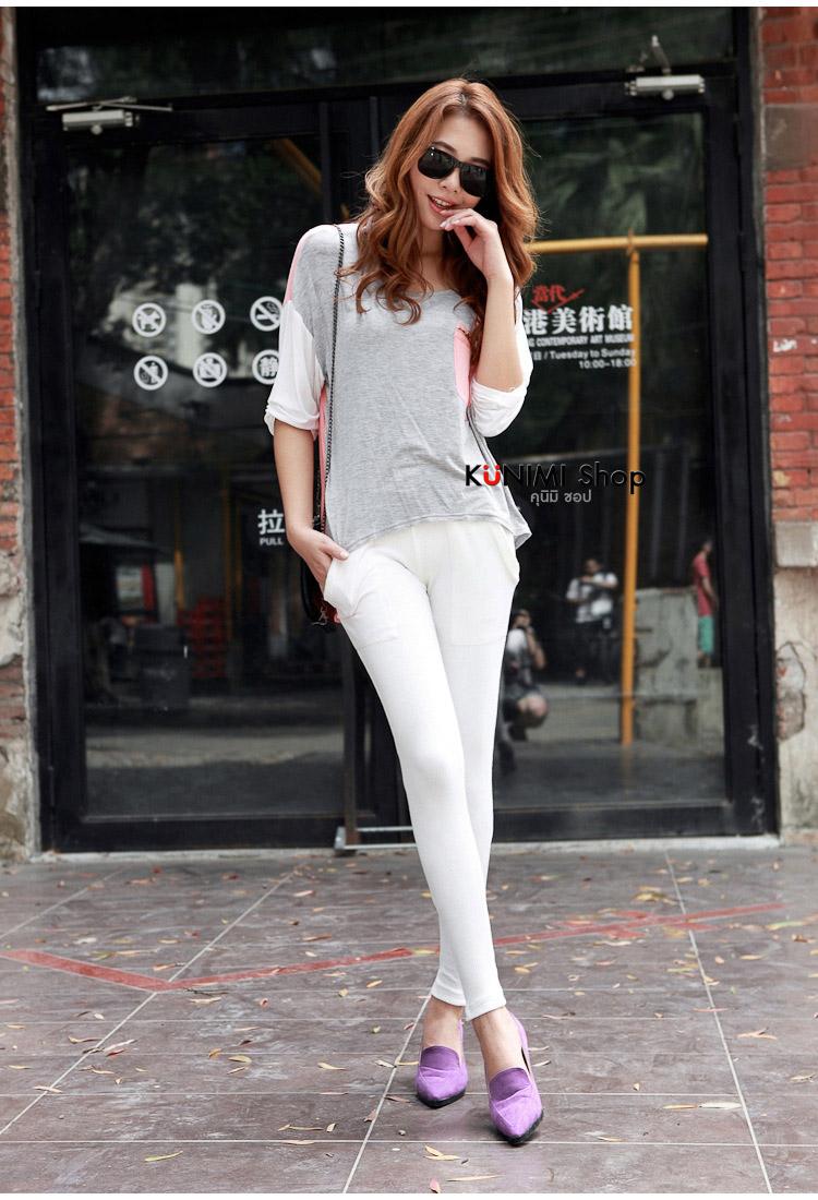 กางเกงเลคกิ้งขายาว เรียบ สวย ดูดีคะ มาพร้อมกระเป๋าข้างสองด้าน ช่วงปลายเท้าประดับด้วยซิบ เอวยางยืด ผ้านิ่ม ใส่สบาย ใส่ได้ทุกโอกาสคะ ผ้า : ผ้าฝ้ายผสม มี 6 สี : ขาว ดำ เทาอ่อน เทาเข้ม กรมท่า แดงเลือดหมู ขนาด : FREE SIZE