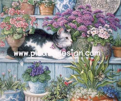 กระดาษสาพิมพ์ลาย สำหรับทำงาน เดคูพาจ Decoupage แนวภาพ แมวดำขาว นอนพักเหนื่อยใต้จต้นไม้ในกระถางสีม่วง