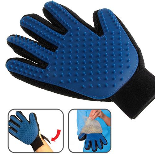 ถุงมือแปรงขนสัตว์ สีน้ำเงิน