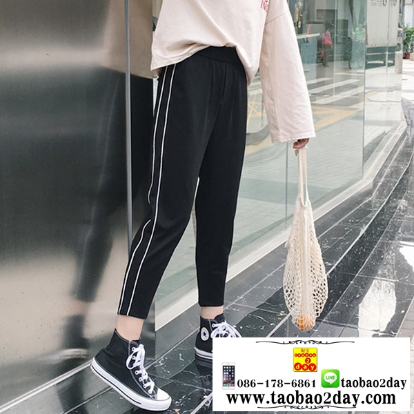 กางเกงฮาเร็มลำลองขายาวสไตล์พร็อพ มี 2 สีคือ ขาวและดำ