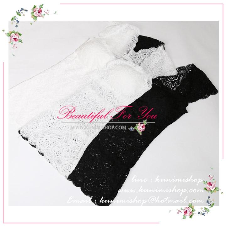 เสื้อซับใน เต็มตัว  เนื้อผ้าลูกไม้ทั้งตัว มีซับใน  ทรงสวย จะใส่เดี่ยวๆ หรือมีเสื้อคลุมอีกตัว ก็สวยคะ  เนื้อผ้ายืดหยุ่น รับกับรูปร่าง ใส่แล้วดูเพียวคะ   ขนาด :FREE SISE ( รอบอกไม่เกิน 35 นิ้วคะ)    มี 2 สี :  สีขาว สีดำ
