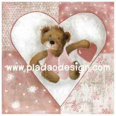 กระดาษสาพิมพ์ลาย rice paper เป็น กระดาษสา สำหรับทำงาน เดคูพาจ Decoupage แนวภาพ Be my Valentine น้องหมี เท็ดดี้ แบร์ teddy bear ในวงล้อมหัวใจถือหัวใจให้คุณ (pladao design)