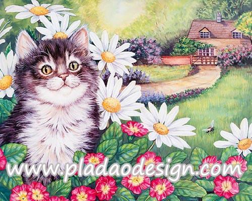 กระดาษสาพิมพ์ลาย สำหรับทำงาน เดคูพาจ Decoupage แนวภาำพ แมวขนฟูไปทั้งตัวทำหน้าแป้นแล้น อยู่ในสวนหน้าบ้าน
