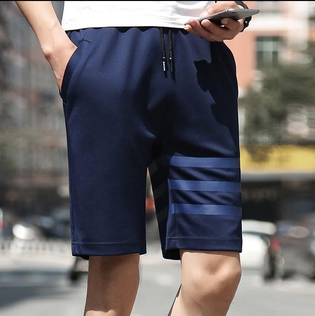 กางเกงขาสั้นแฟชั่นเกาหลี ลายทาง : สีน้ำเงิน