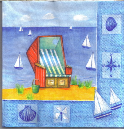 แนวภาพทะเล เก้าอี้ชายหาด ในกรอบลายแต่ง ภาพโทนสีฟ้า เป็นภาพ 4 บล๊อค กระดาษแนพกิ้นสำหรับทำงาน เดคูพาจ Decoupage Paper Napkins ขนาด 33X33cm