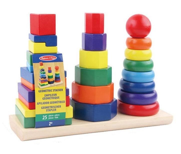 ของเล่นไม้ บล็อกไม้สวมหลักเรขาคณิต 3 หลัก