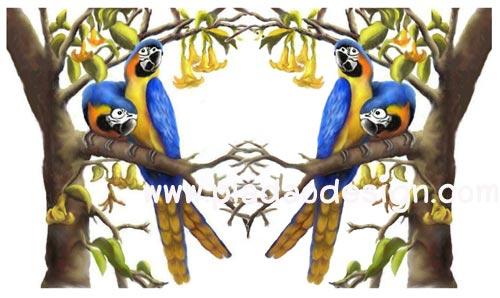 กระดาษสาพิมพ์ลาย rice paper เป็น กระดาษสา สำหรับทำงาน เดคูพาจ Decoupage แนวภาพ นกแก้ว เป็นภาพวาดสีน้ำมัน (ปลาดาวดีไซน์)