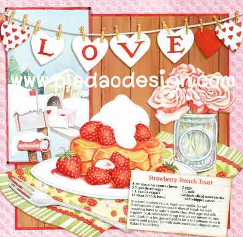 กระดาษอาร์ทพิมพ์ลาย สำหรับทำงาน เดคูพาจ Decoupage : Cooking Series - Strawberry French Toast