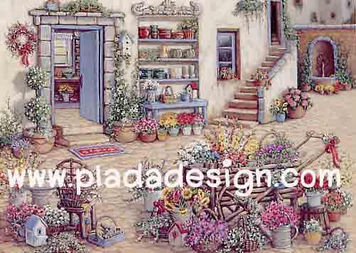 กระดาษสาพิมพ์ลาย สำหรับทำงาน เดคูพาจ Decoupage แนวภาำพ บ้านและสวน ห้องเพาะดอกไม้นานาพันธุ์สีสวยสดใส เป็นห้องใต้ดิน (ปลาดาวดีไซน์)