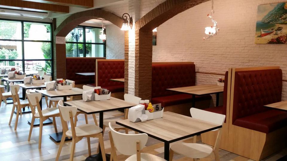 เก้าอี้บูธ พนักพิงสูง สำหรับร้านอาหาร ร้านสเต๊ก ร้านกาแฟ