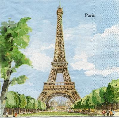 แนวภาพ Landmark ปารีส ฝรั่งเศส กระดาษแนพกิ้นสำหรับทำงาน เดคูพาจ Decoupage Paper Napkins เป็นภาพสไตย์ภาพวาดสีน้ำ ขนาด 33X33cm
