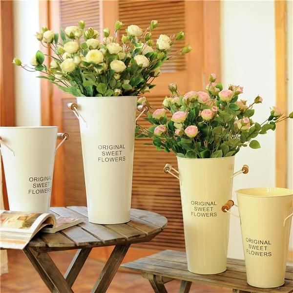 Pre-Order ถังใส่ดอกไม้ เหล็กเคลือบสี ทรงสูง มีหู ลาย Original Sweet Flowers 2 ใบเซต มี 6 สี