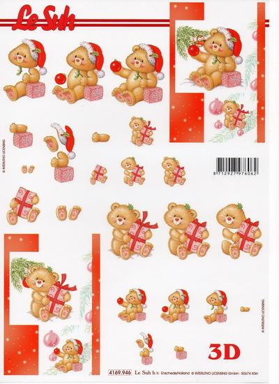 กระดาษ 3D สร้างลายนูน หมีน้อยตกแต่งต้นคริสมาส์ต กับ กล่องของขวัญ 2 ภาพ ขนาด A4