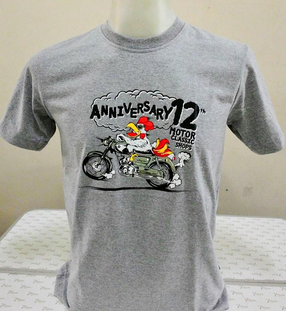 เสื้อ Motor Classic Shops ครบรอบ 12 ปี ลายไก่ Suzuki สีเทา Size XXL