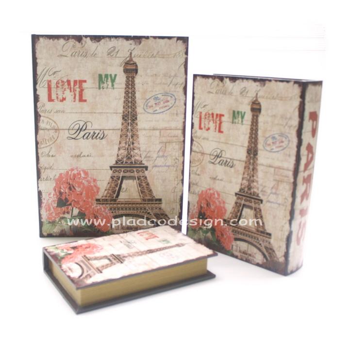 กล่องเก็บของทรงหนังสือแนววินเทจ 3 ใบชุด ลาย Love My Paris Effel