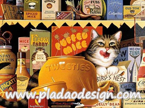 กระดาษสาพิมพ์ลาย สำหรับทำงาน เดคูพาจ Decoupage แนวภาำพ เจ้าแมวจอมยุ่งแลบลิ้นเลียปาก แอบกืนอาหารแมว ที่ทางเจ้าของเอามาวางขายในร้าน