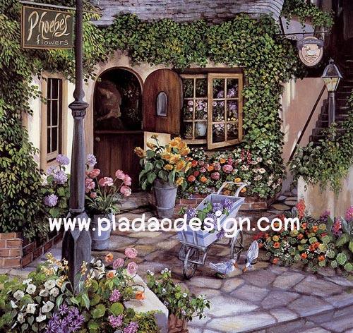 กระดาษสาพิมพ์ลาย rice paper สำหรับทำงาน handmade เดคูพาจ Decoupage แนวภาพ ตกแต่งบ้านและสวน เบื้องหลังร้านขายดอกไม้ ย่อมมีดอกไม้งามแอบซ่อนอยู่ อิอิ ปลาดาว ดีไซน์
