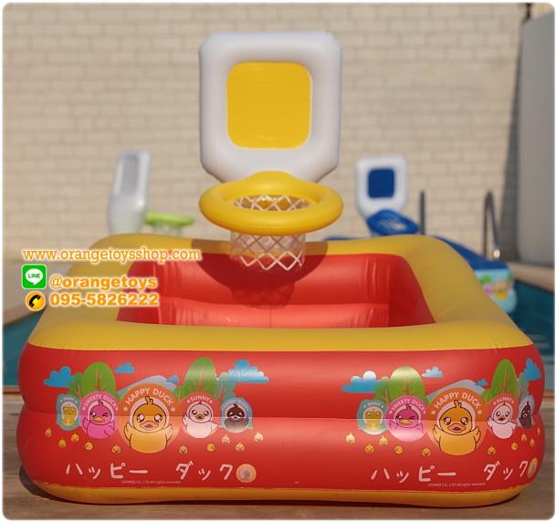 ( ขนาด 5 ฟุต ) สีแดง -- สระน้ำเป่าลม สีเหลี่ยม ติดแป้นบาสเก็ตบอล Happy Duck 150*110*105 เซนติเมตร