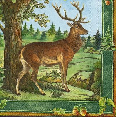 แนวภาพสัตว์ น้องกวางยืนใต้ต้นไม้ในทุ่งกว้าง ภาพโทนสีฟ้า เป็นภาพเต็มแผ่น กระดาษแนพกิ้นสำหรับทำงาน เดคูพาจ Decoupage Paper Napkins ขนาด 33X33cm