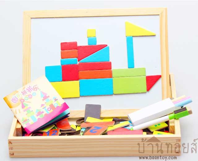 ของเล่นเสริมพัฒนาการ กล่องกระดานไม้ตัวต่อแม่เหล็ก