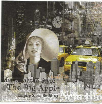 แนวภาพ Landmark นิวยอร์ค อเมริกา กระดาษแนพกิ้นสำหรับทำงาน เดคูพาจ Decoupage Paper Napkins มีภาพ 4 ชุดในแผ่น ขนาด 33X33cm