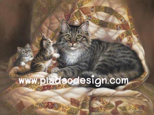 กระดาษสาพิมพ์ลาย สำหรับทำงาน เดคูพาจ Decoupage แนวภาพ แม่แมวขนฟูสีเทากะลูก 2 ตัว บนที่นอนสวยหรู