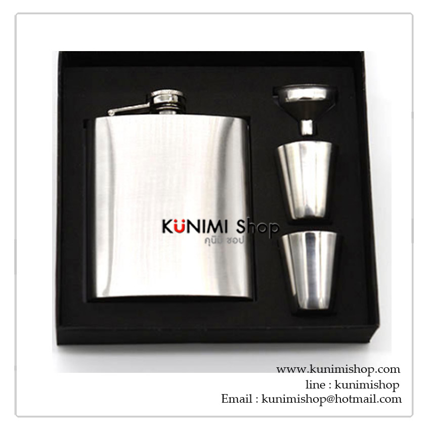 K007P ชุดเซ็ตกระป๋องใส่เหล้า 7 OZ สแตนเลส (พร้อมถ้วยและกรวยสแตนเลส)
