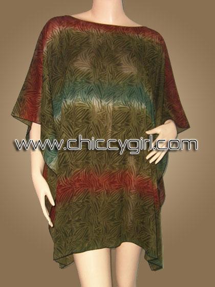 เสื้อแขนค้างคาวไปงาน ลายใบไผ่ สีเขียว earth tone สามารถพรางรูปร่างได้ดี ผ้าเนื้อดีใส่สบายมากๆ แบบเรียบหรู