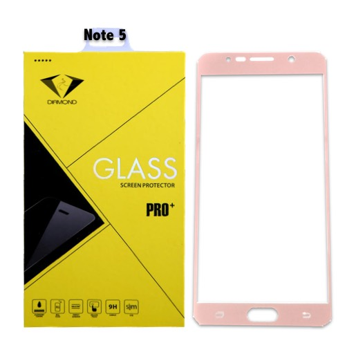 Diamond ฟิล์มกระจกซัมซุง Samsung Note 5 เต็มจอ สีชมพู ซัมซุงโน๊ต5