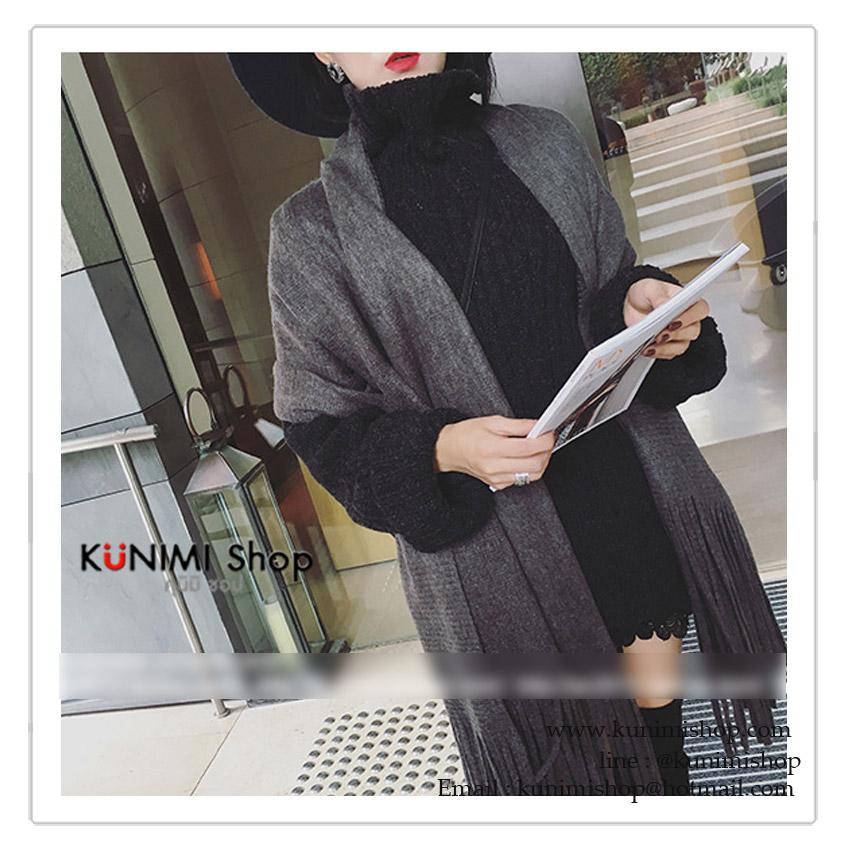PR069 ผ้าพันคอแฟชั่น ผ้าหนา ช่วงปลายประดับด้วยริ้ว อย่างดี งานสวยคะ ขนาด กว้าง 50 ยาว 180 cm.
