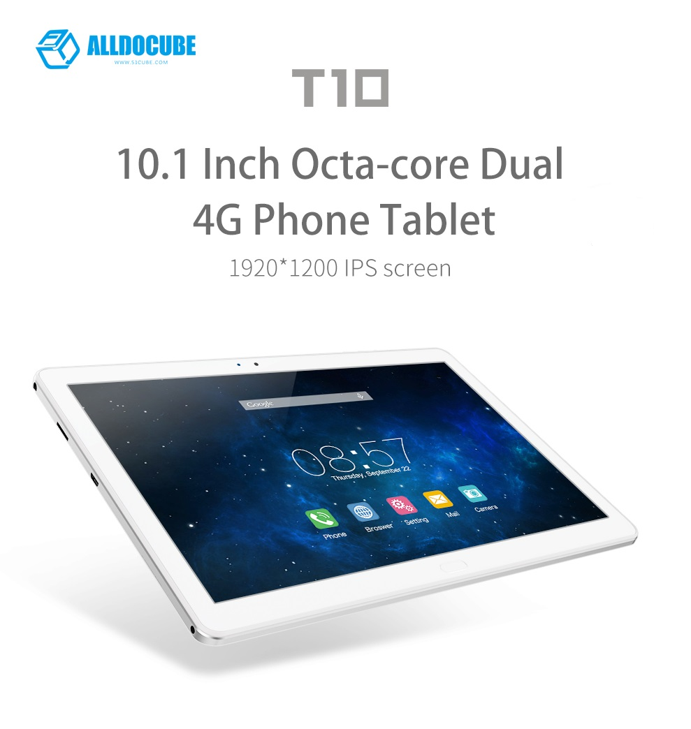 Cube T10 ใส่ซิมโทรได้ รองรับ 4G ขนาดจอ 10.1 นิ้ว 1920x1200 Android 6.0 MT8783 Octa Core WCDMA, Bluetooth,Dual Camera 2+8 MP 2GB/32GB