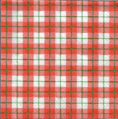 แนวภาพลายแต่ง ตารางสก๊อตสีแดงแซมขาวตัดด้วยเส้นเขียว ภาพโทนสีแดง เป็นภาพเต็มแผ่น กระดาษแนพกิ้นสำหรับทำงาน เดคูพาจ Decoupage Paper Napkins ขนาด 33X33cm